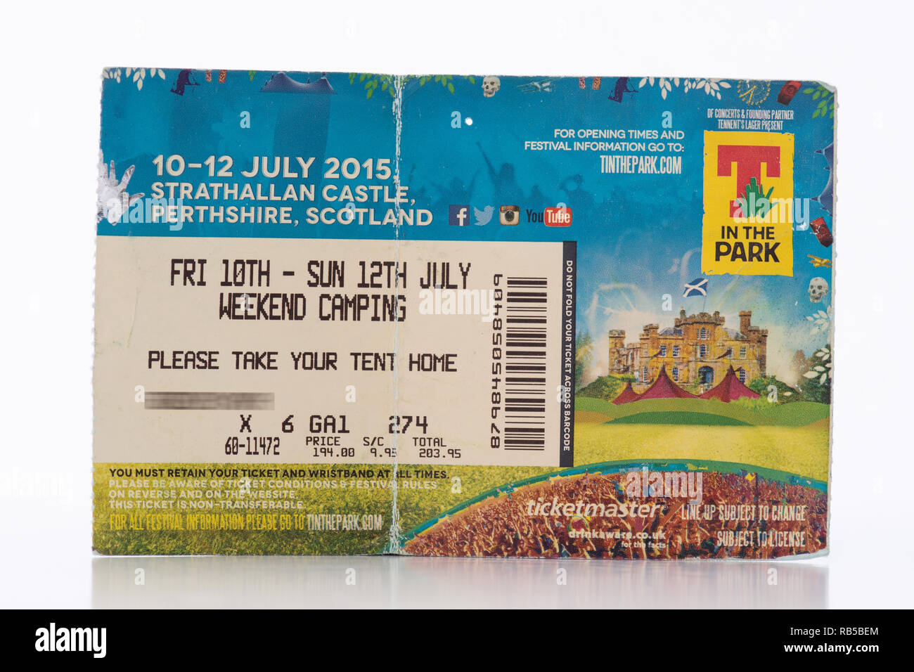 T in the Park ticket 2015 Strathallan Castle, Scotland, UK (ticket holders name obscured for privacy) - Stock Image