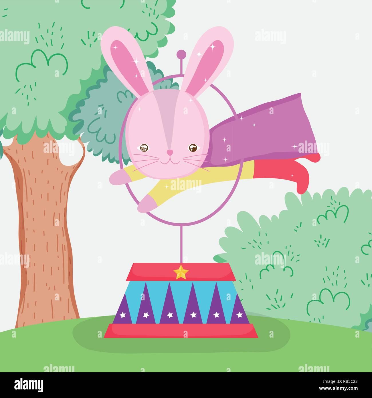 rabbit hero costume jumping hoop - Stock Vector