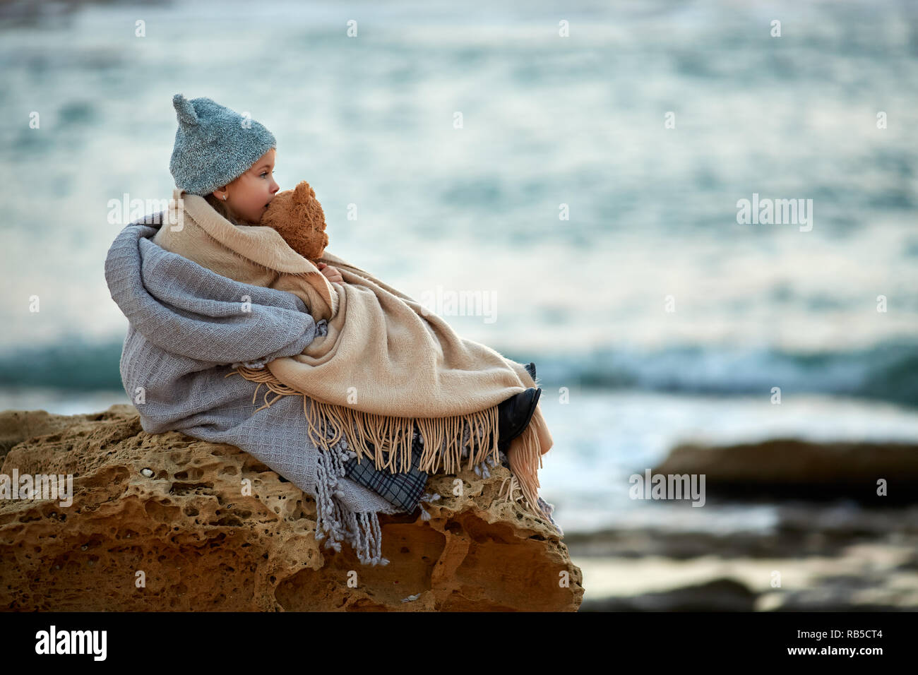 Sad Girl Sitting Sea Stock Photos Amp Sad Girl Sitting Sea