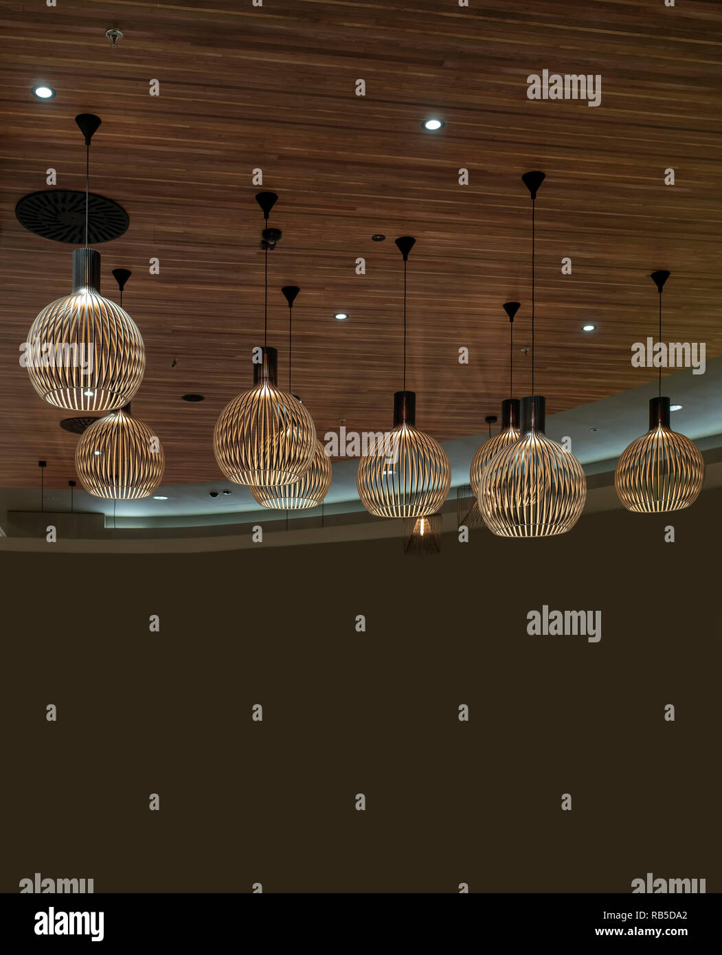 interior modern light decoration brown tones and wooden theme - Stock Image