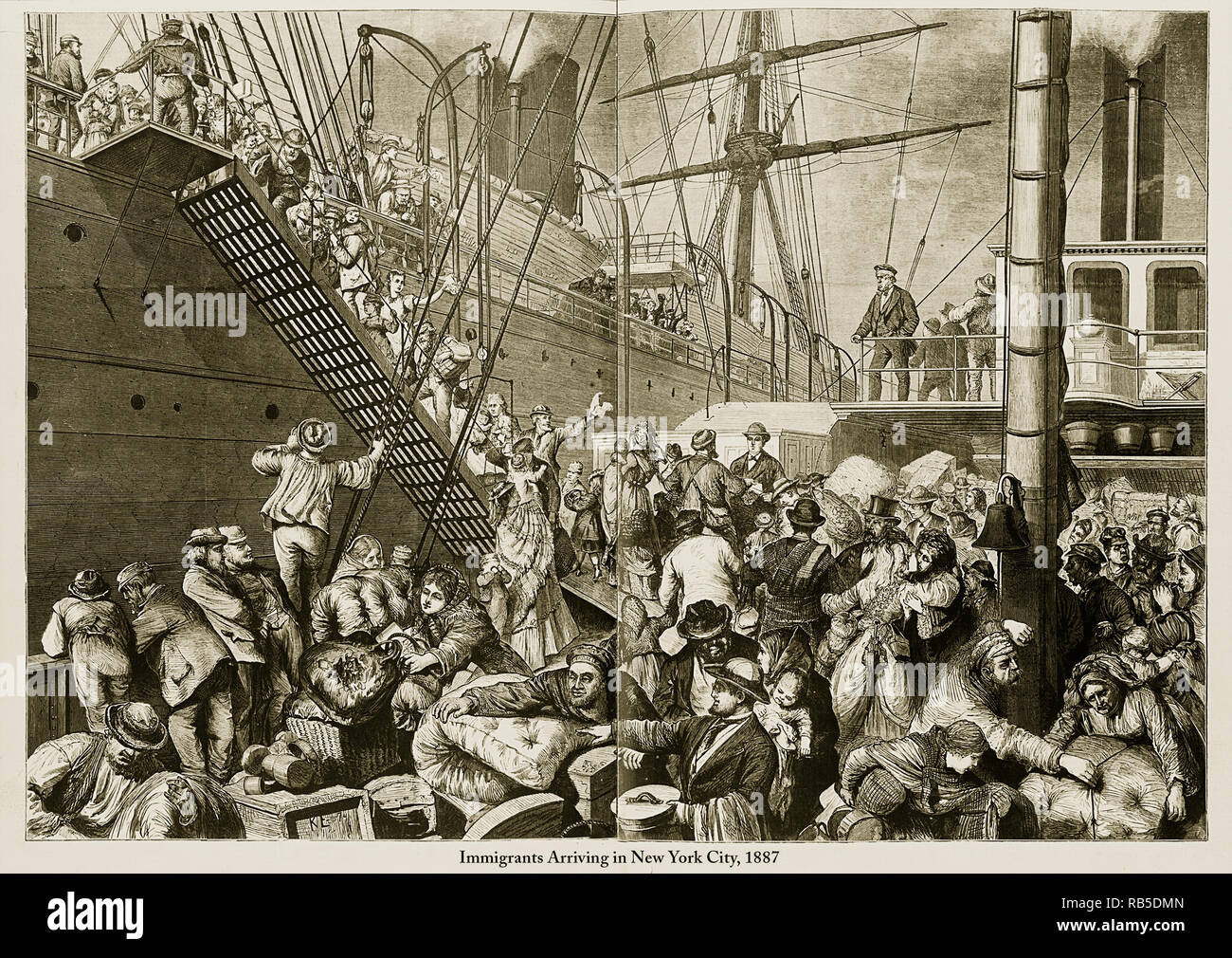 Immigrants Arriving In New York City 1887 Engraving Stock Photo