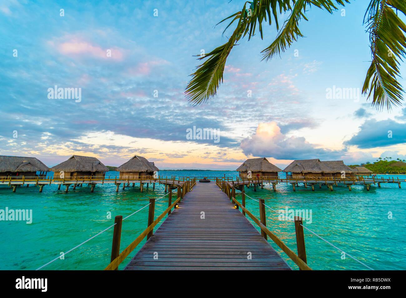 Way to overwater bungalow on a side island of Bora Bora, Tahiti - Stock Image