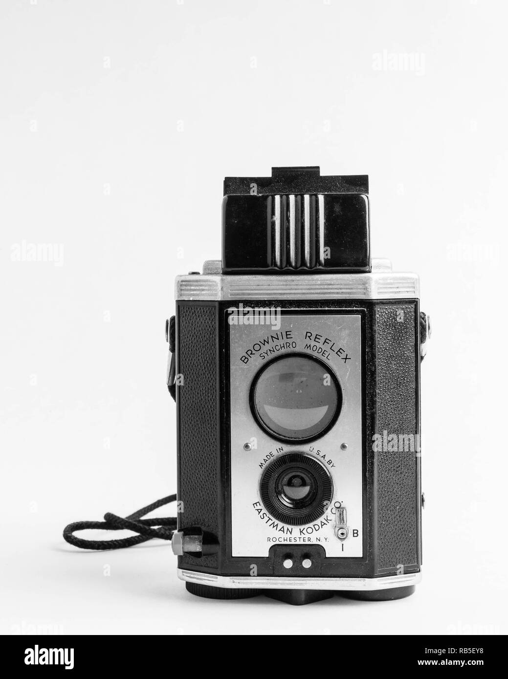 Vintage Eastman Kodak Brownie Reflex Synchro Model Film Camera - Stock Image