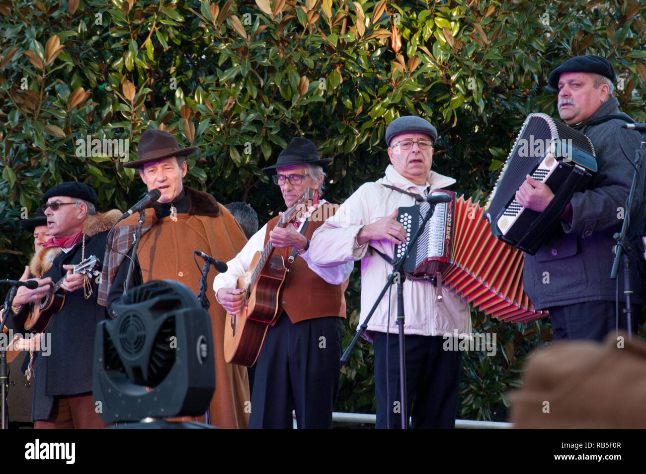 Portuguese folklore group singing As Janeiras in Porto, Portugal Stock Photo