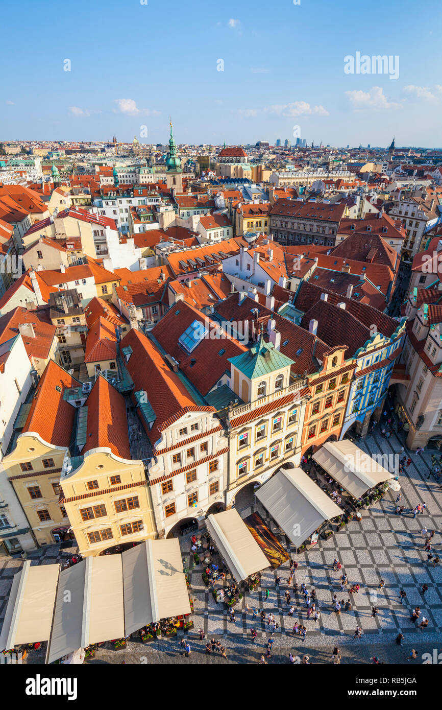 Prague old town square prague looking down on tourists in cafes and restaurants shopping in the staromestske namesti Prague Czech republic Europe - Stock Image