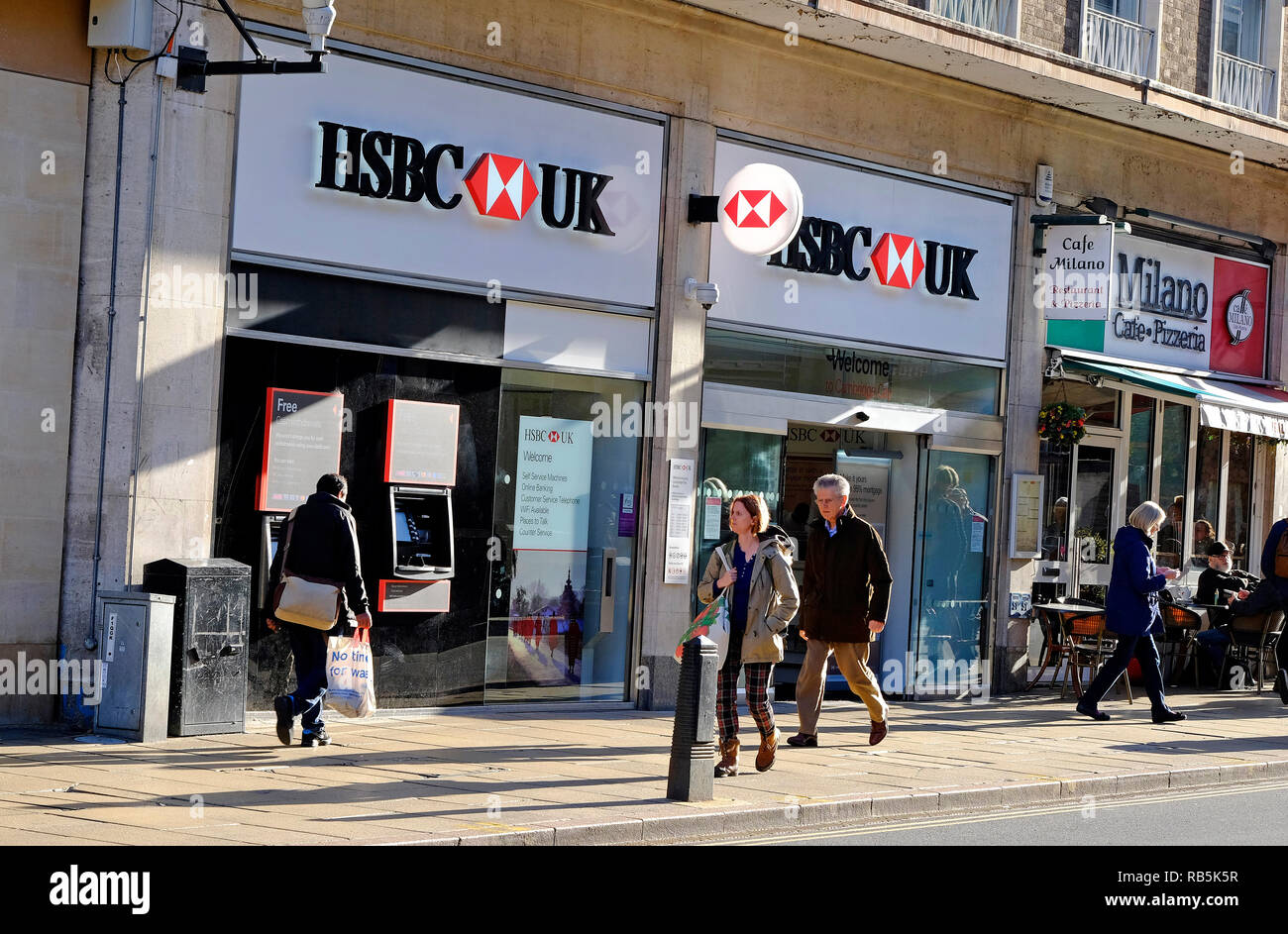 hsbc bank branch, cambridge city centre, england Stock Photo