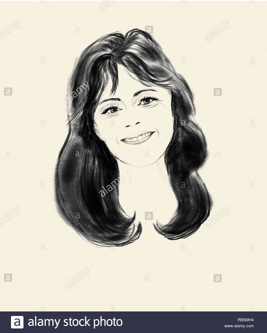 Pencil sketch of a smiling young girl with long dark hair on yellow paper