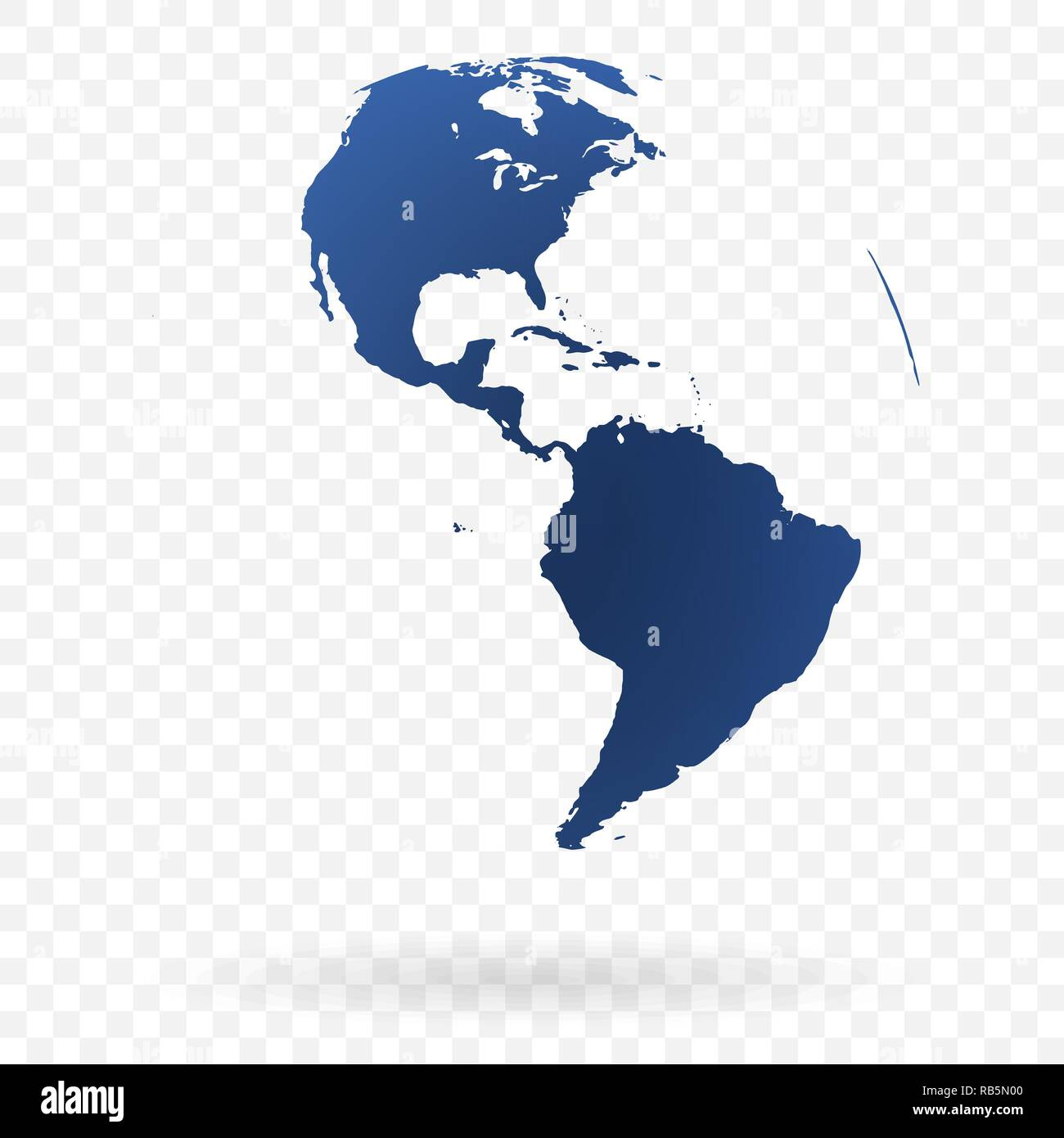 Highly detailed Earth globe symbol, North and South America
