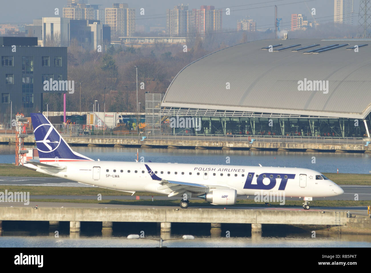 LOT Airlines plane doing crew training at London City Airport - Stock Image