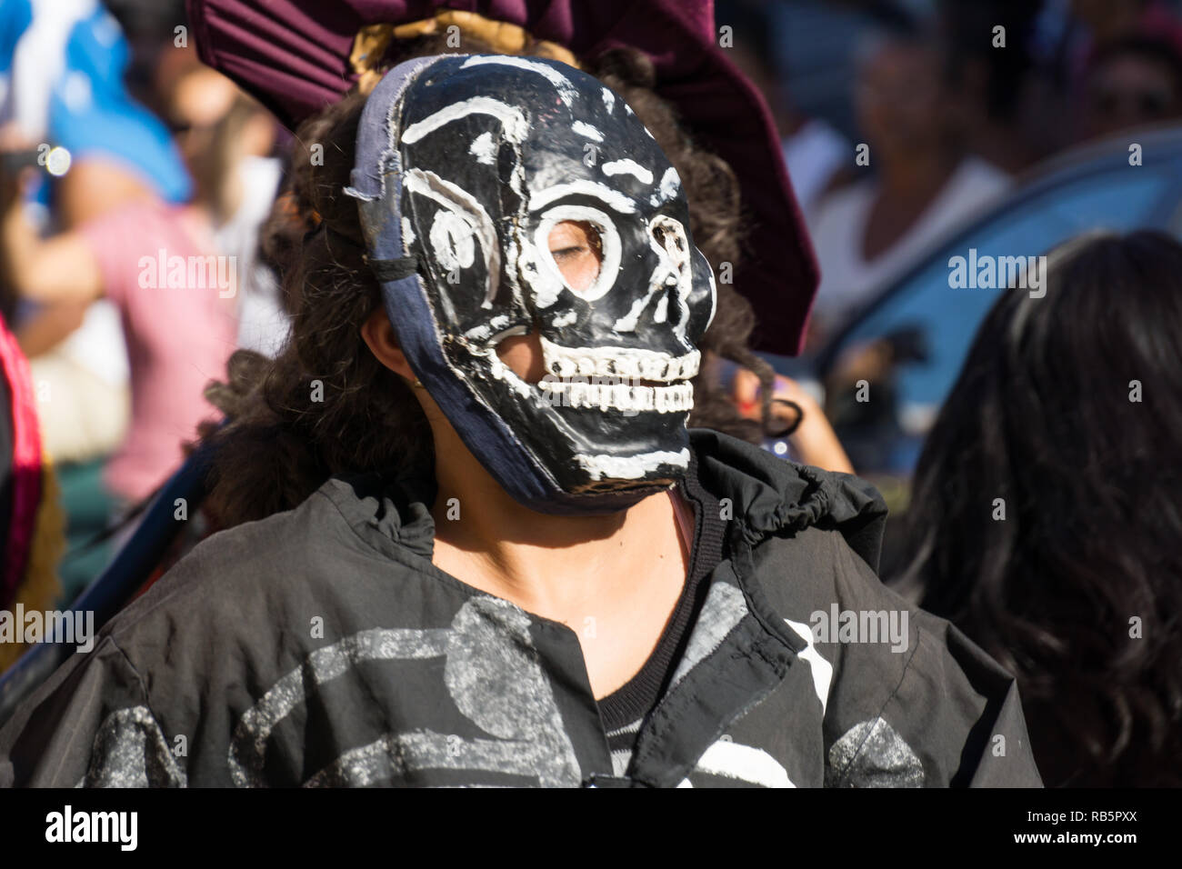 Granada, Nicaragua – February 15, 2017:  People wearing traditional dress and colorful masks during celebration of Carnival. Nicaragua traditional fol - Stock Image