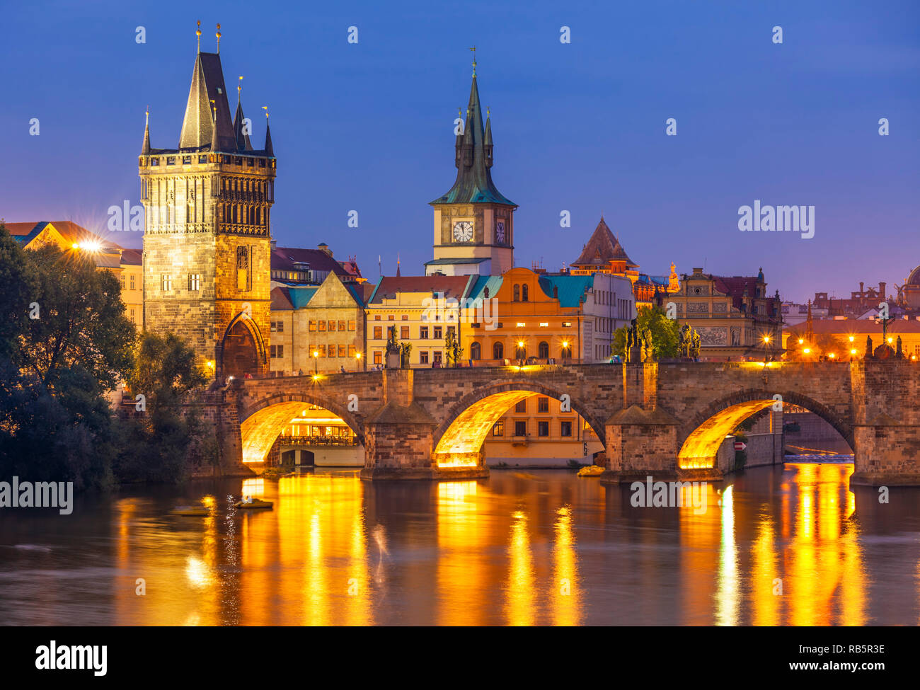 Prague Charles bridge and river Vltava at night Prague Czech republic Europe Stock Photo