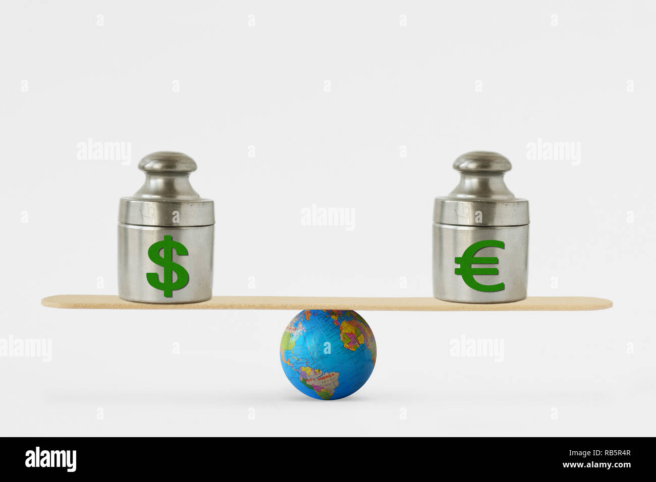 Dollar and euro symbols on balance scale - Concept of balance between dollar and euro Stock Photo