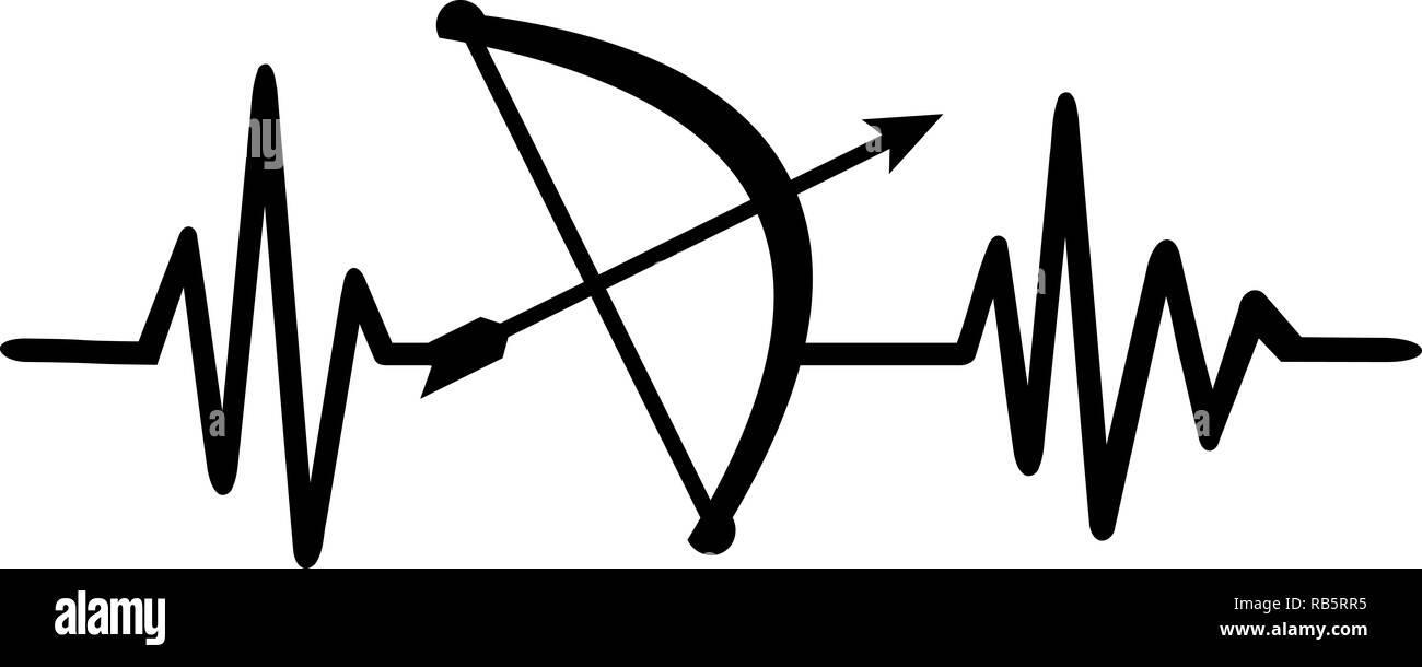 Heartbeat pulse line archery with bow and arrow and german job title - Stock Image