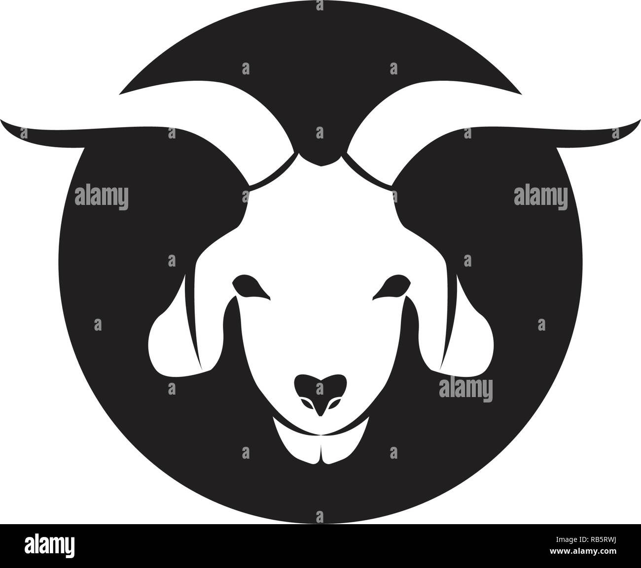 Goat black animals vector logo and symbol template Stock