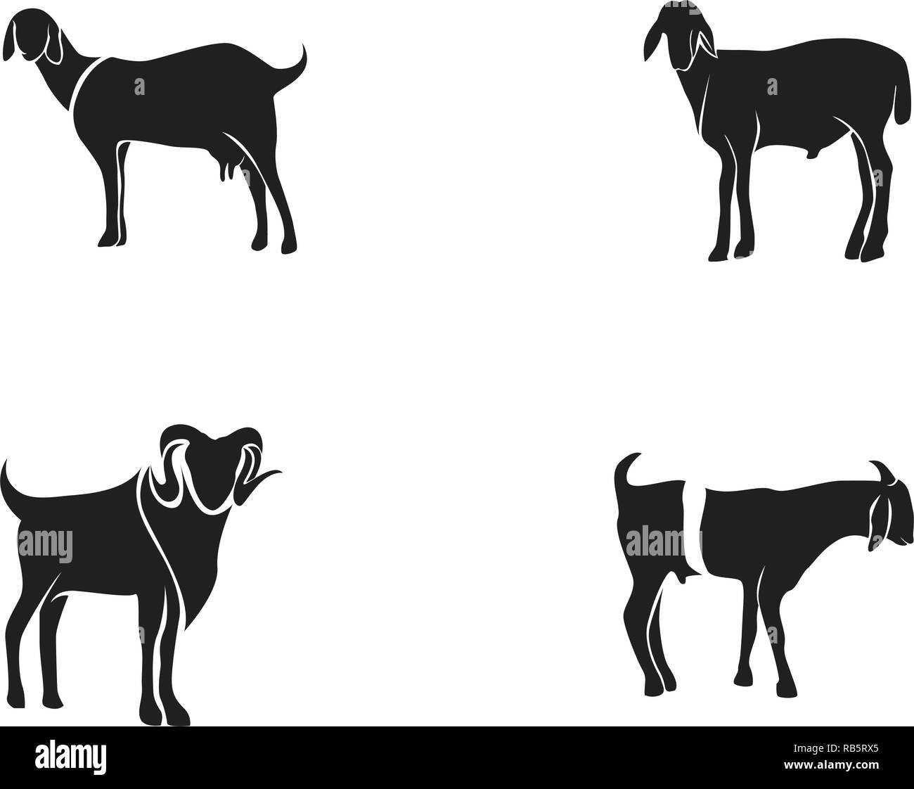 Goat black animals vector logo and symbol template - Stock Image
