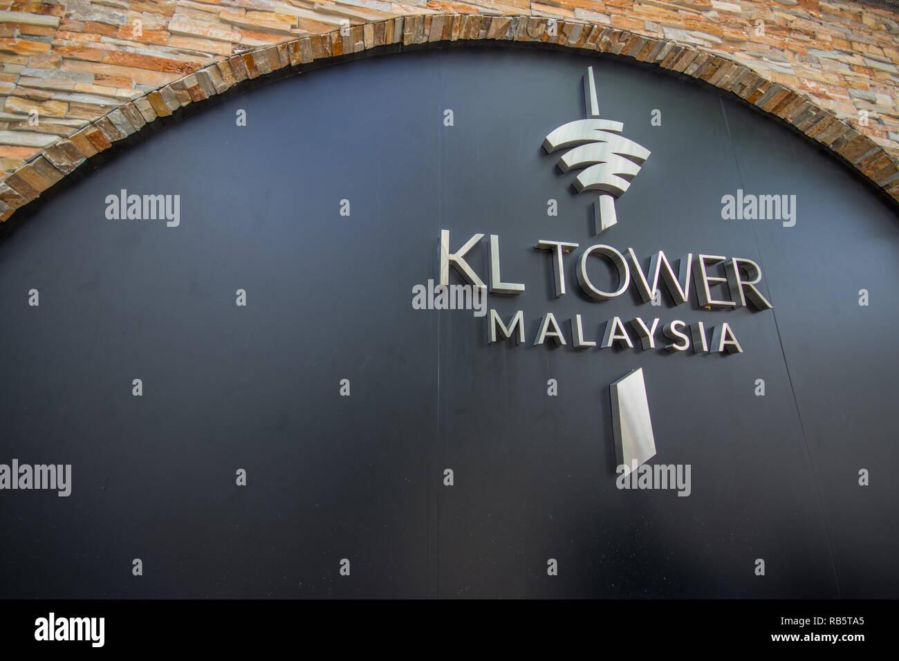 Entrance sign at KL Tower, Bukit Nanas, Kuala Lumpur, Malaysia - Stock Image