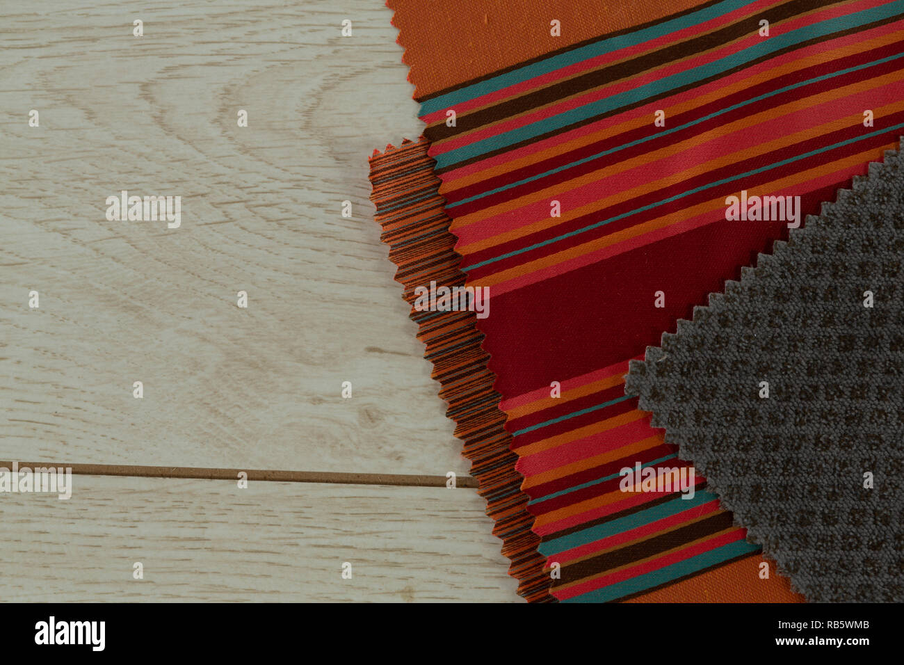 Textile on a wooden table - Stock Image