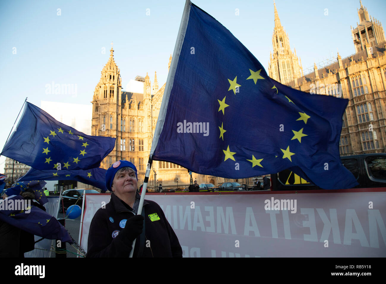 Anti Brexit pro remain demonstrators protest waving European Union flags in Westminster opposite Parliament on the day that Conservative Party MPs triggered a vote of no confidence in the Prime Minister on 12th December 2018 in London, England, United Kingdom. - Stock Image