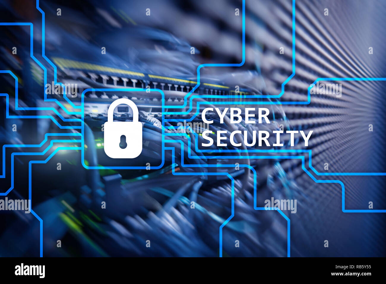 Cyber security, information privacy and data protection concept on server room background - Stock Image