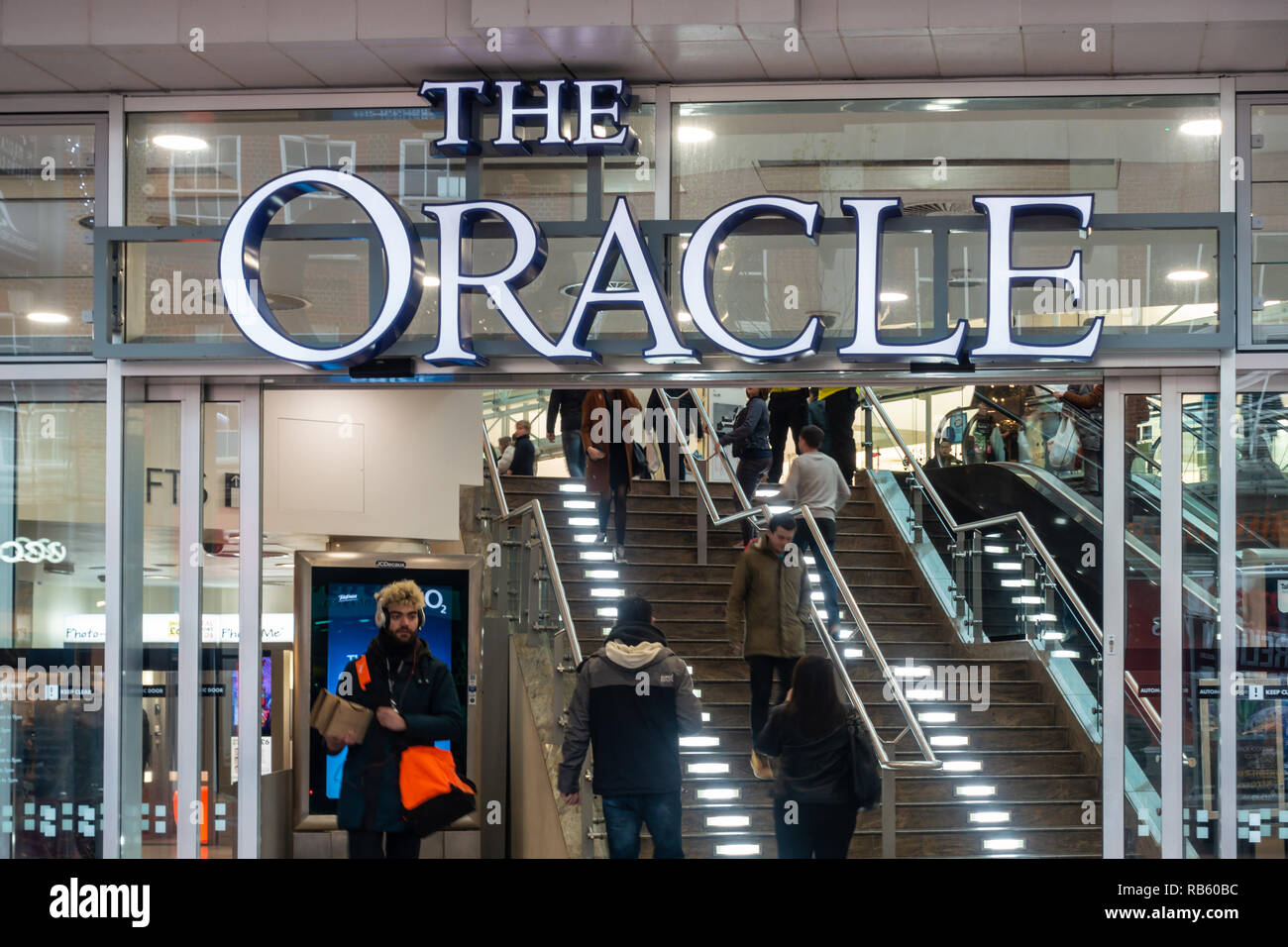 An entrance off Broad Street  into The Oracle Shopping Centre in Reading, Berkshire, UK Stock Photo