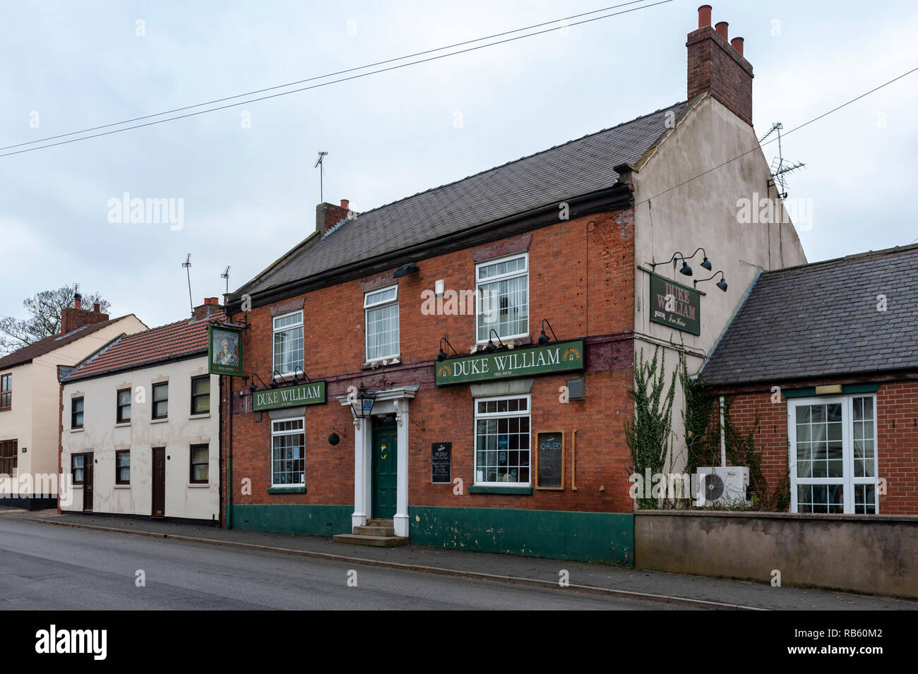 Haxey, Lincolnshire, England, UK – On of the four pubs used in the traditional ancient tradition of The Haxey Hood since the 14th Century - The Duke William Stock Photo