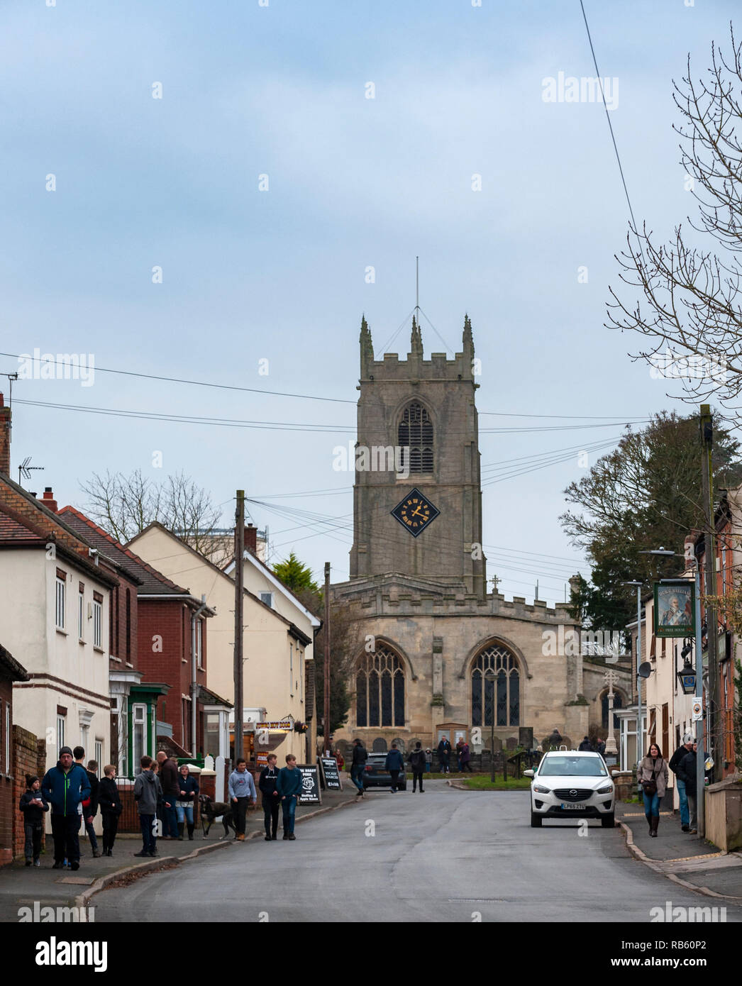 Haxey, Lincolnshire, England, UK – The Village Parish Church of Saint Nicholas the sight of the traditional ancient tradition of The Haxey Hood since the 14th Century. Stock Photo