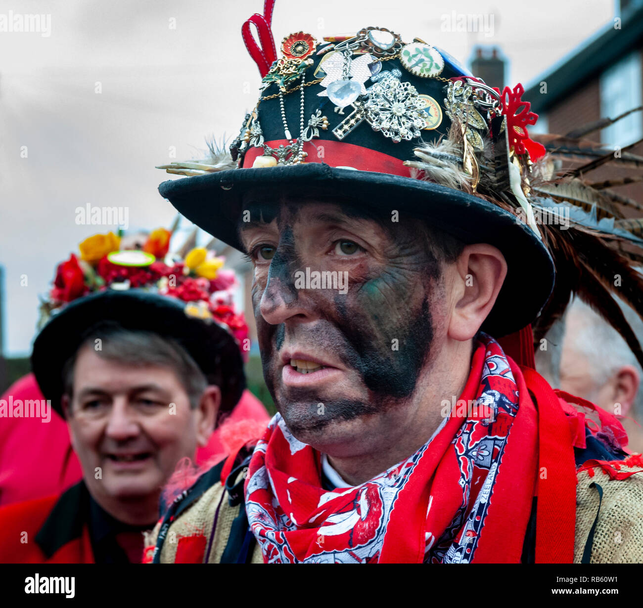 Haxey, Lincolnshire, England, UK – The Fool participates in the traditional ancient custom of The Haxey Hood since the 14th Century. Stock Photo
