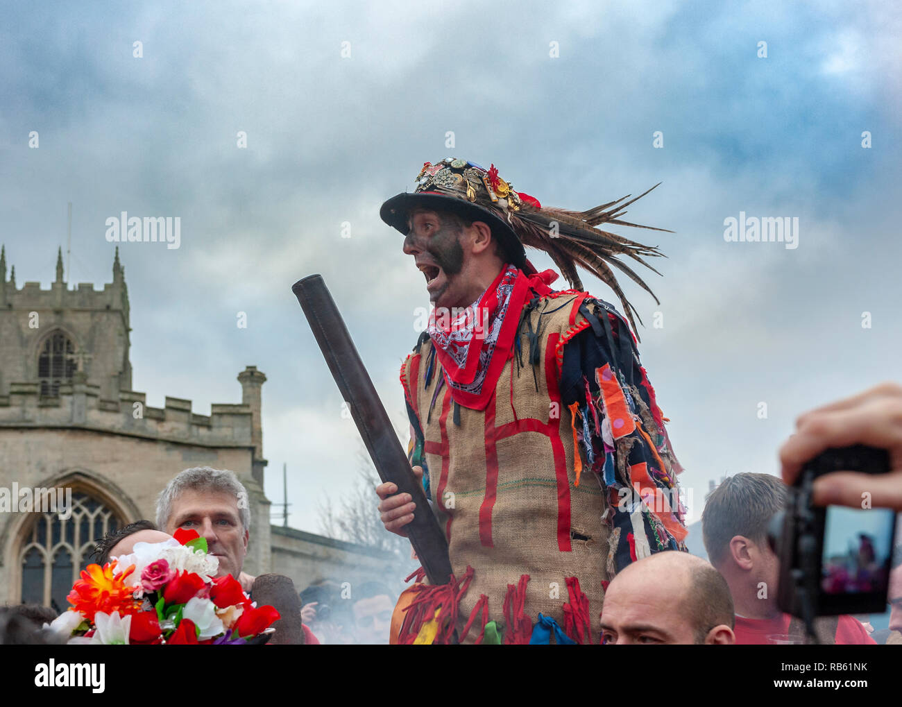 Haxey, Lincolnshire, England, UK – The Fool participates in the traditional ancient custom of The Haxey Hood since the 14th Century Stock Photo
