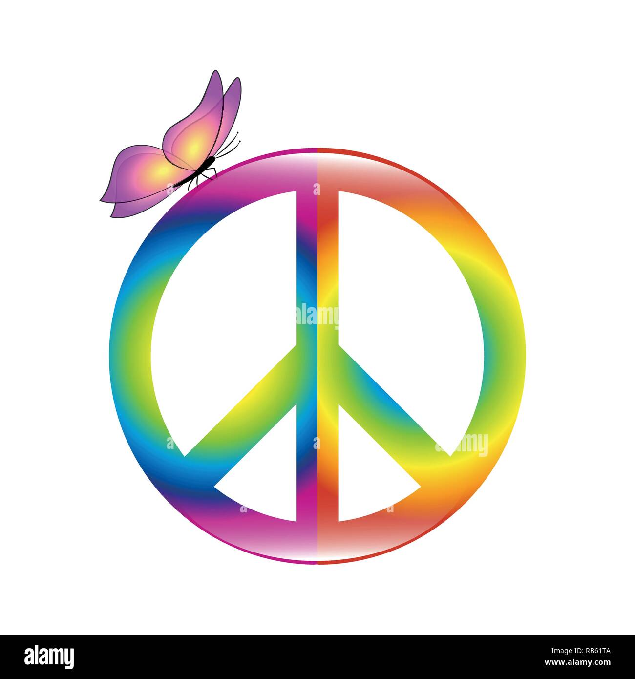 peace colorful symbol in rainbow colors with butterfly vector illustration EPS10 Stock Vector