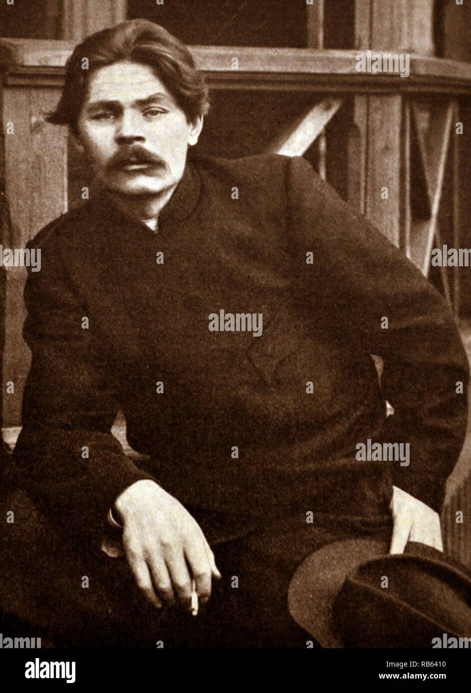 Maxim Gorky, (1868-1936) was a Russian and Soviet writer, a founder of the Socialist realism literary method and a political activist - Stock Image