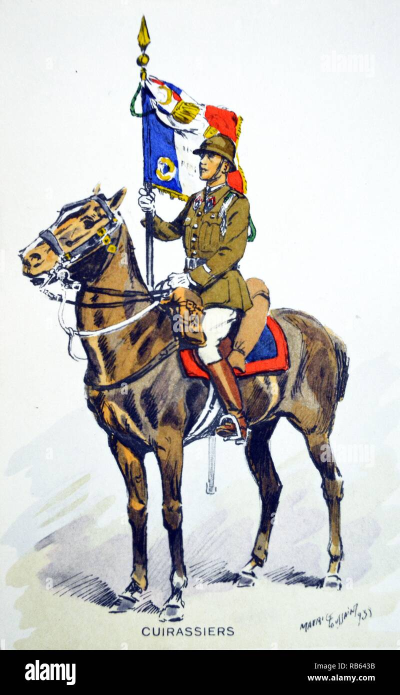 French world war two postcard showing a cavalry officer with banner - Stock Image