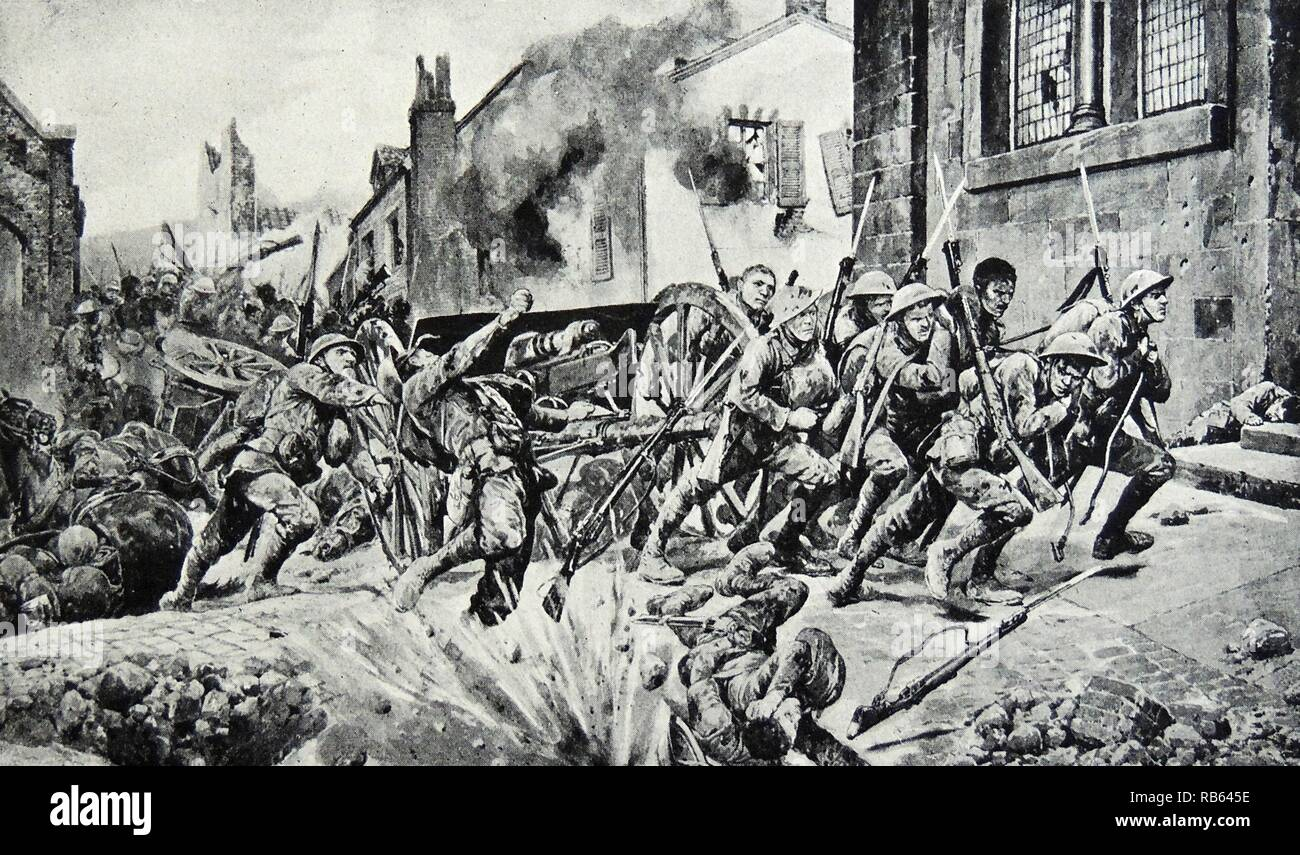Illustration of dauntiless heroism of British guards that saved the day. Dated 1917 Stock Photo