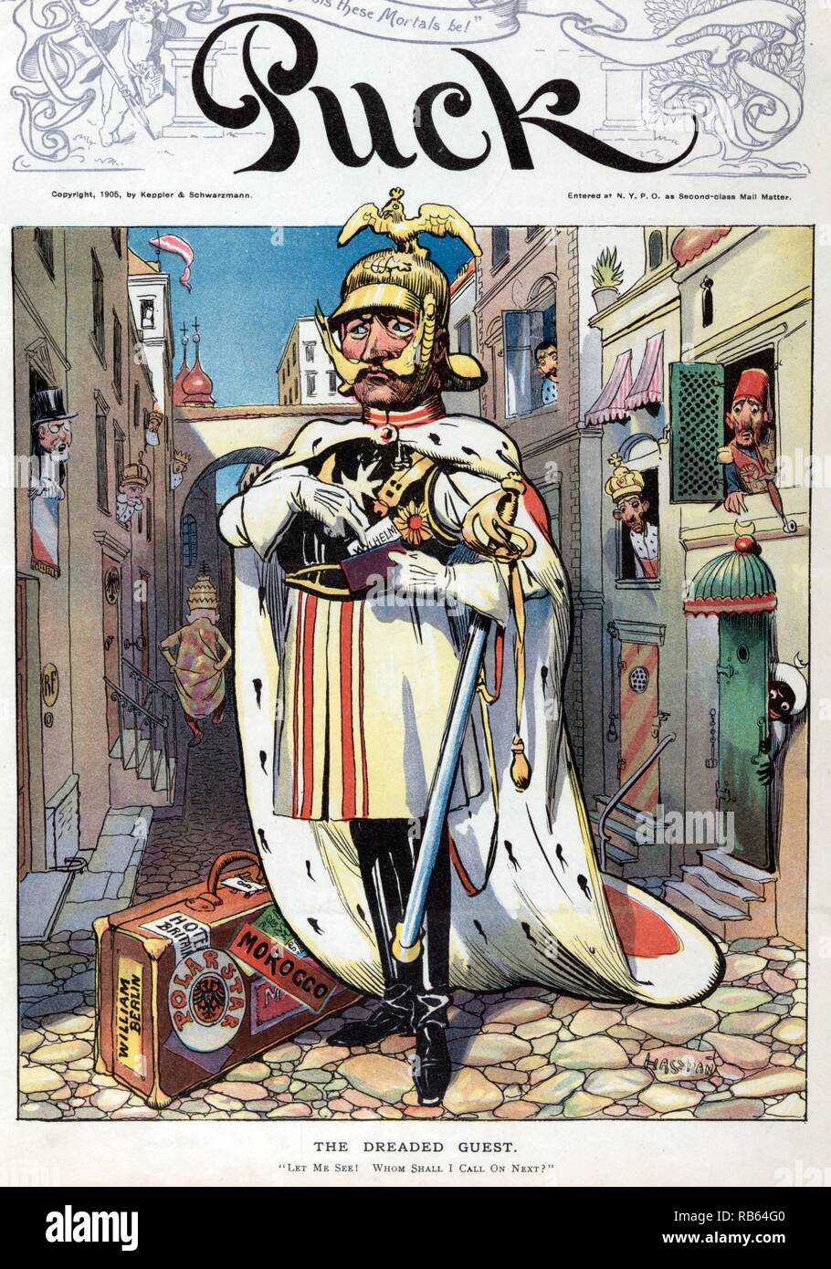 The dreaded guest by Carl Hassmann, 1905. William II, emperor of Germany, standing in the middle of a cobblestone street, in Italy (?) (the pope, wearing the papal crown, is walking down the street), taking a visiting card labeled 'Wilhelm' from a pouch in his left hand. The French flag is hanging above a door labeled 'RF', on the left. Austria appears to be the next door on the left, and other rulers lean out windows on both sides of the street. At William's feet is a suitcase with labels 'William Berlin, Hotel Britain, Polar Star, [and] Morocco'. - Stock Image
