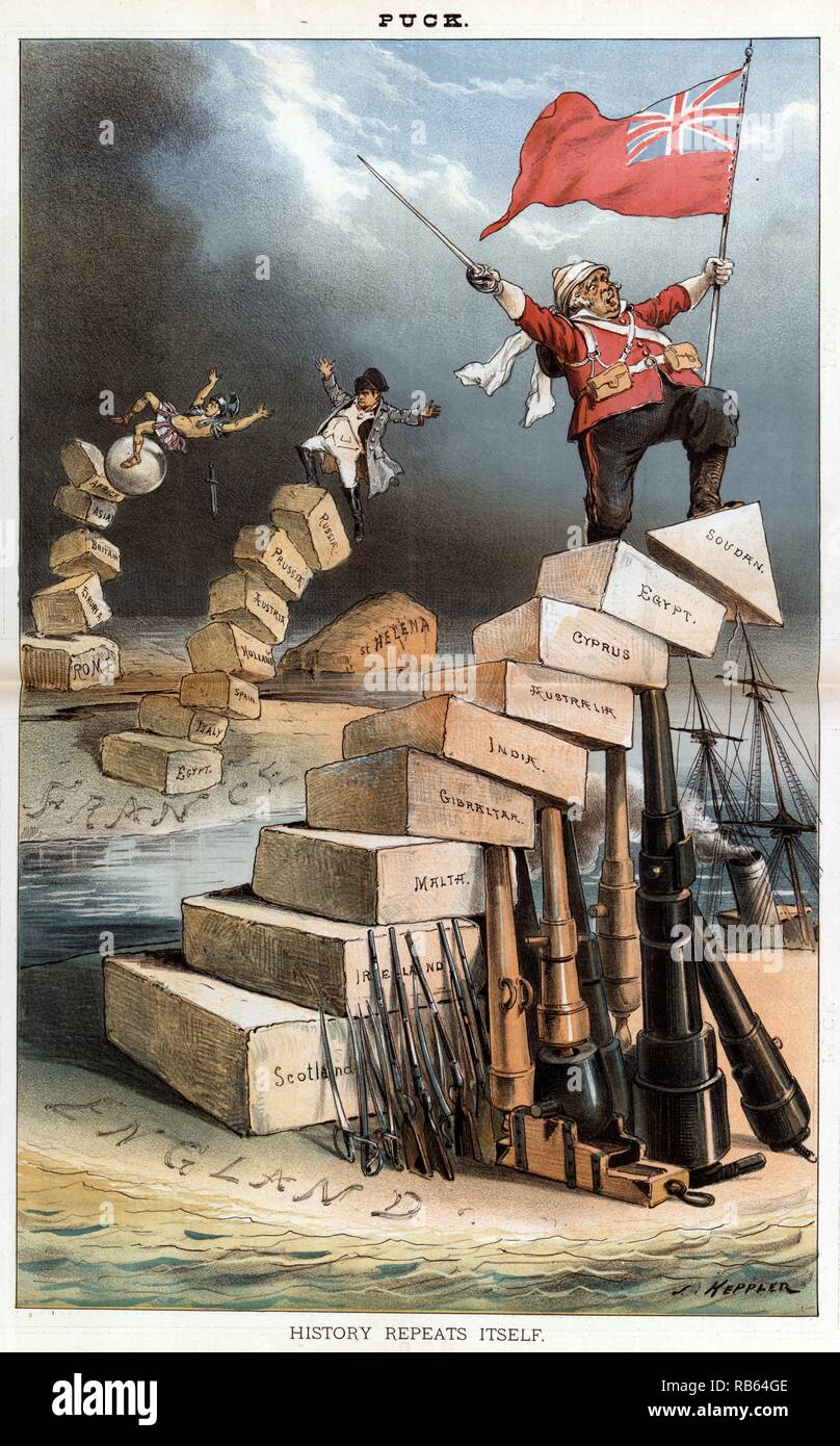 History repeats itself by Joseph Keppler, 1885. Julius Caeser tumbling off a pillar of stones labeled 'Rome, Etruria, Britain, Asia, [and] Africa', and in the middle distance, on a land labeled 'France', Napoleon I tumbling off a pillar of stones labeled 'Egypt, Italy, Spain, Holland, Austria, Prussia, [and] Russia' and falling toward a rocky island labeled 'St. Helena'. In the foreground, John Bull is standing to a pillar of stones labeled 'Scotland, Ireland, Malta, Gibraltar, India, Australia, Cyprus, Egypt, Sudan]' on a land labeled 'England'. - Stock Image