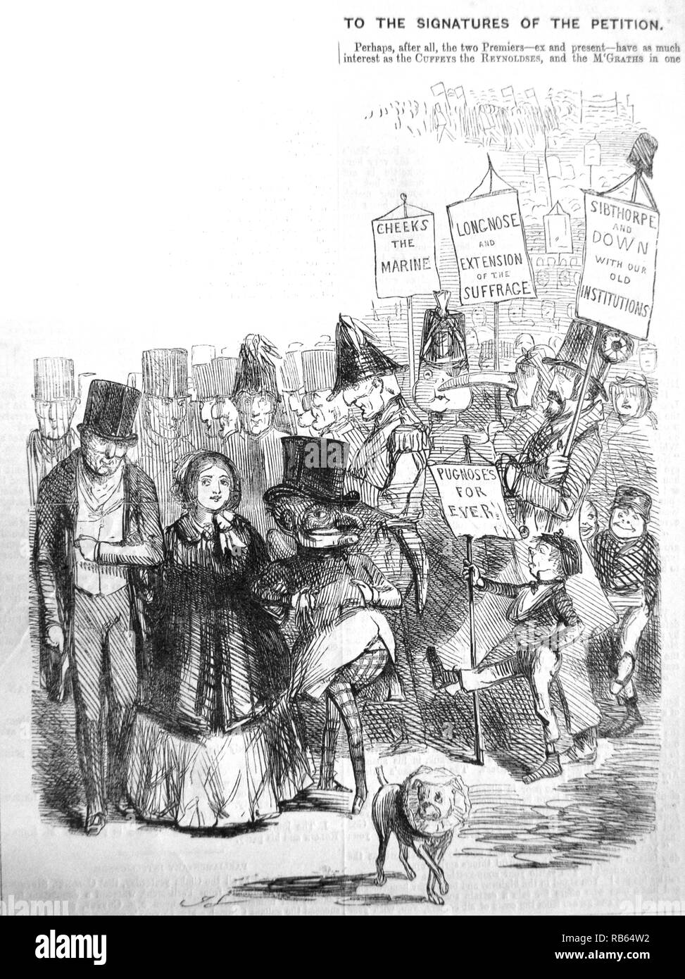 Chartism: How the Chartist procession might have looked, with Mr Punch, Queen Victoria and the Duke of Wellington, followed by other eminent citzens. John Leech Cartoon from ''Punch'', London, 1848. - Stock Image