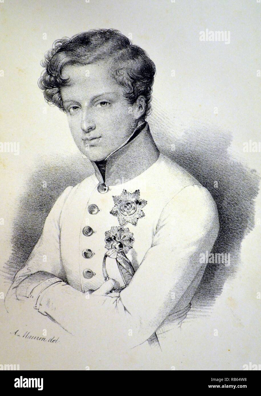 Napoleon II, Duke of Reichstadt, also known as the King of Rome (1811-1832), son of Napoleon I and Marie Louise of Austria, Lithograph, Paris, c1840. Stock Photo