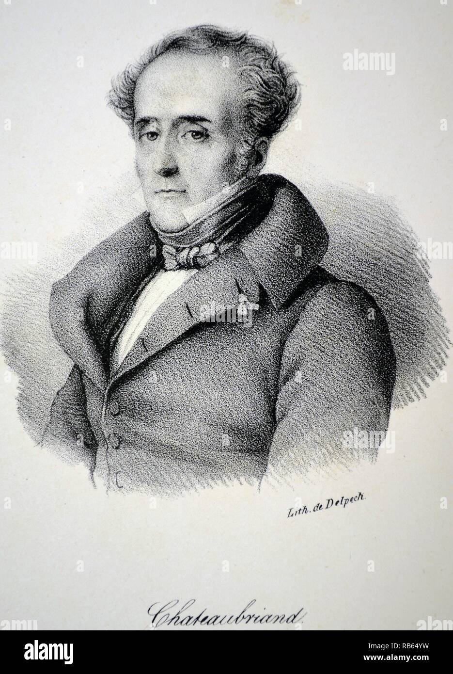 Francois Rene, vicomte de Chateaubriand (1768-1848) French writer, politician and diplomat. He founded Romanticism in French literature. Ithograph, Paris, c1840. - Stock Image