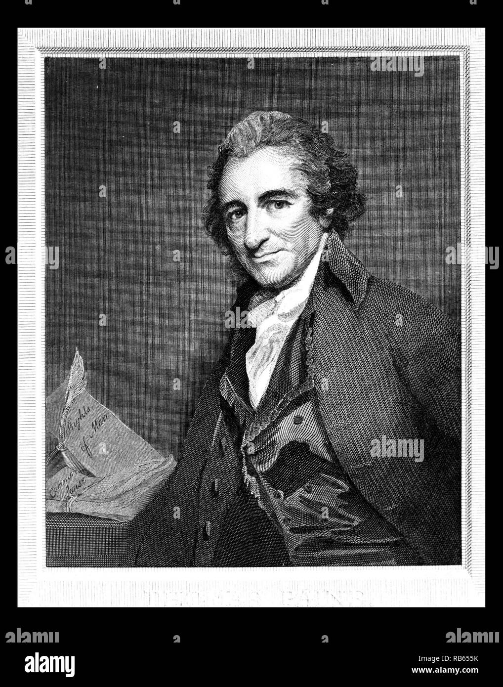 Thomas Paine by William Sharp. He was an English-American political activist, author, political theorist and revolutionary. The author of two highly influential pamphlets at the start of the American Revolution, he inspired the Patriots in 1776 to declare independence from British rule. - Stock Image