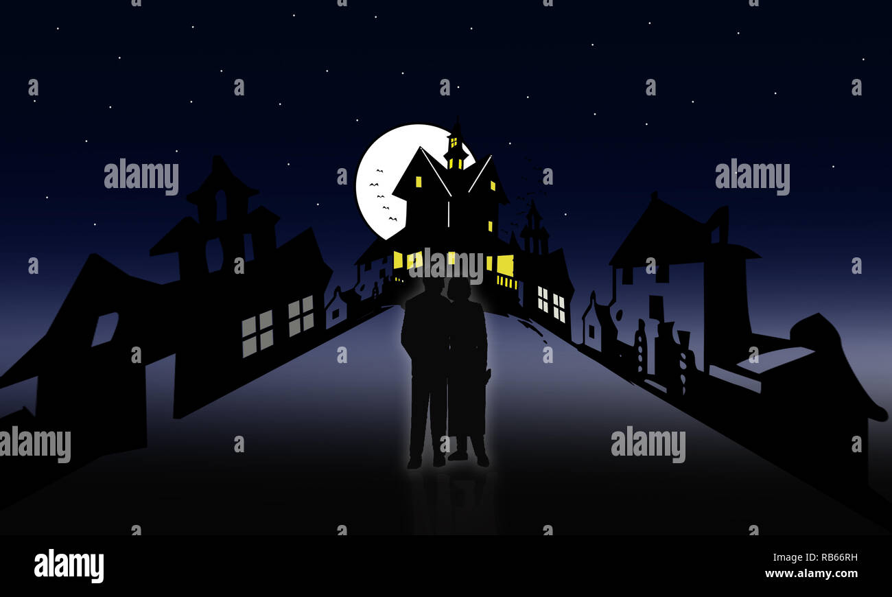 Illustration of lovers walking at Halloween night. Couple at creepy  haunted place adventure scenery. Couple in love walking under full moon night. Stock Photo