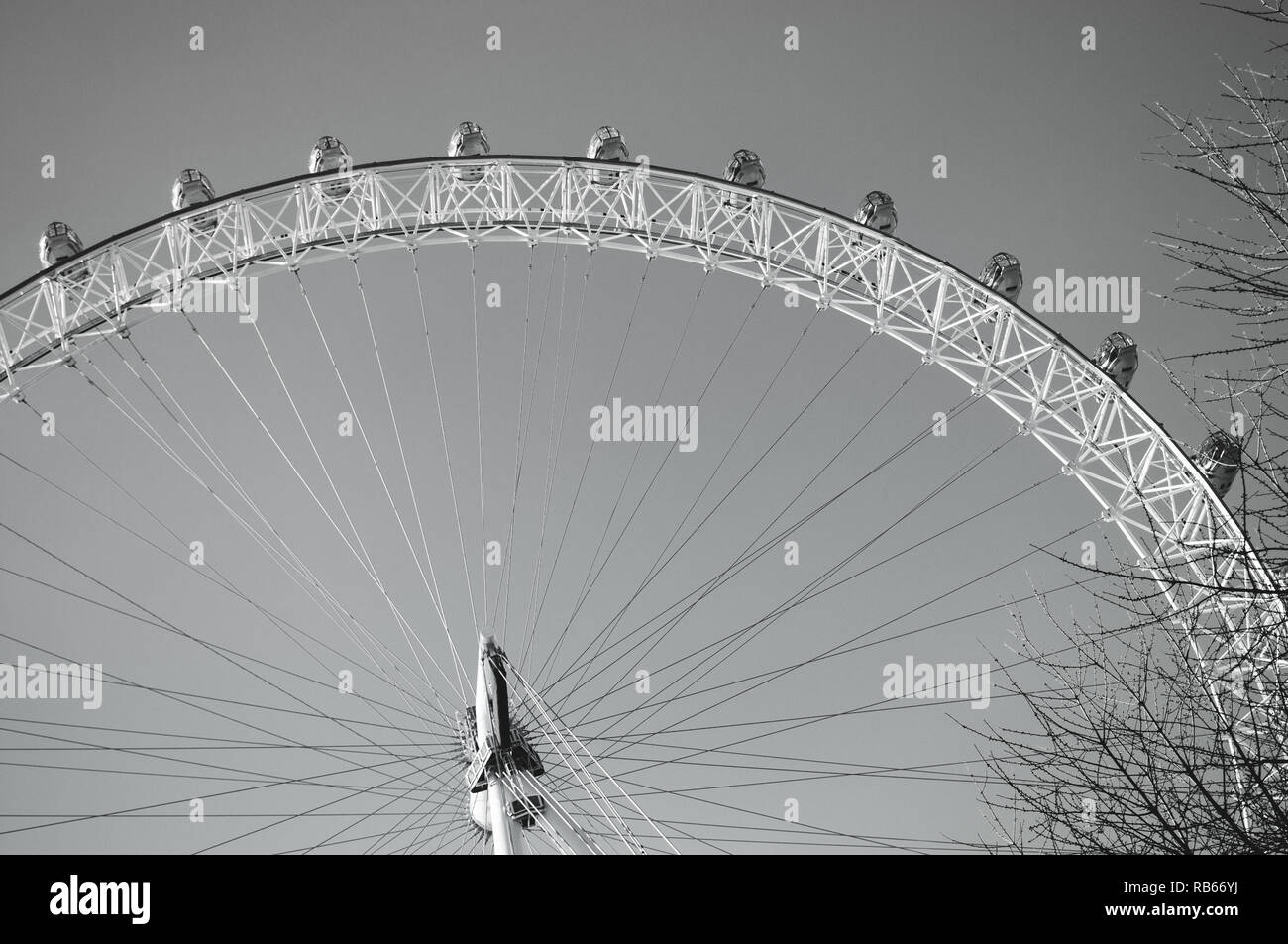 A black and white print of the London Eye / Millennium Wheel in London, England. - Stock Image