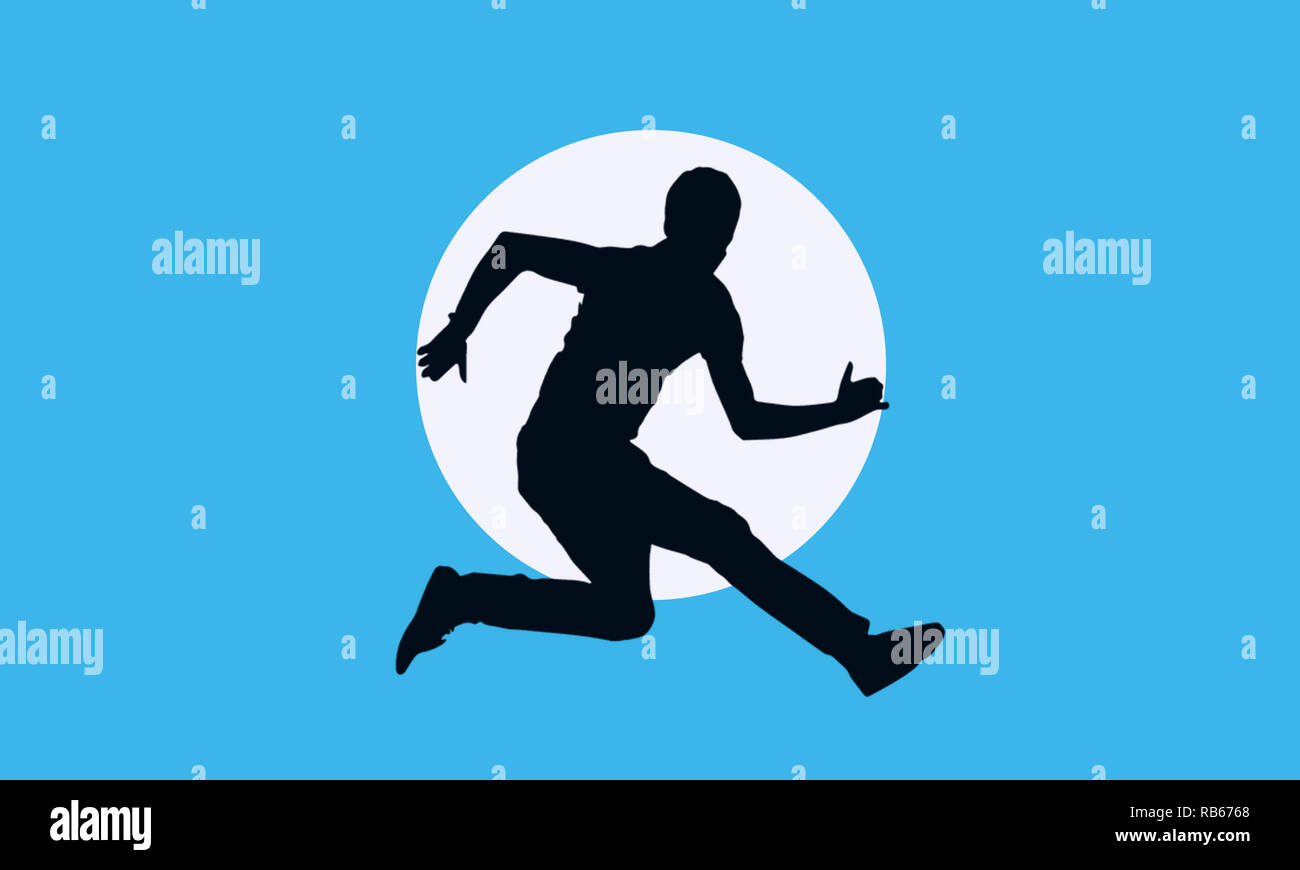 Man Running illustration with sleek blue background and shadow image with deep clarity,best usage for UX UI web banner,sports promotional events. - Stock Image