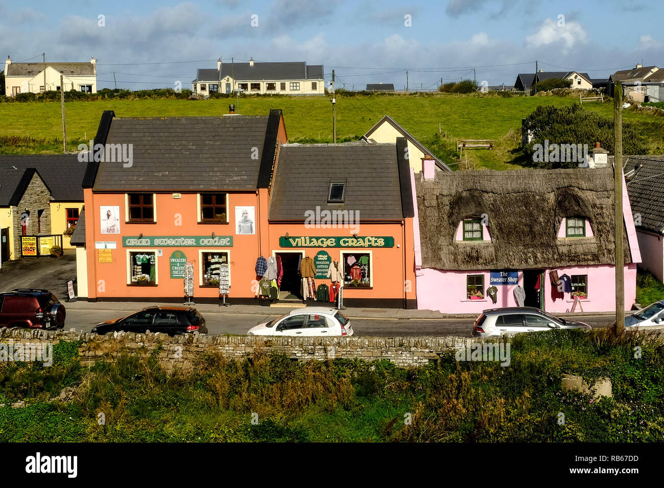 Shops on Fisher Street, Doolin which is the road to the ferry port for boats to Aran. - Stock Image