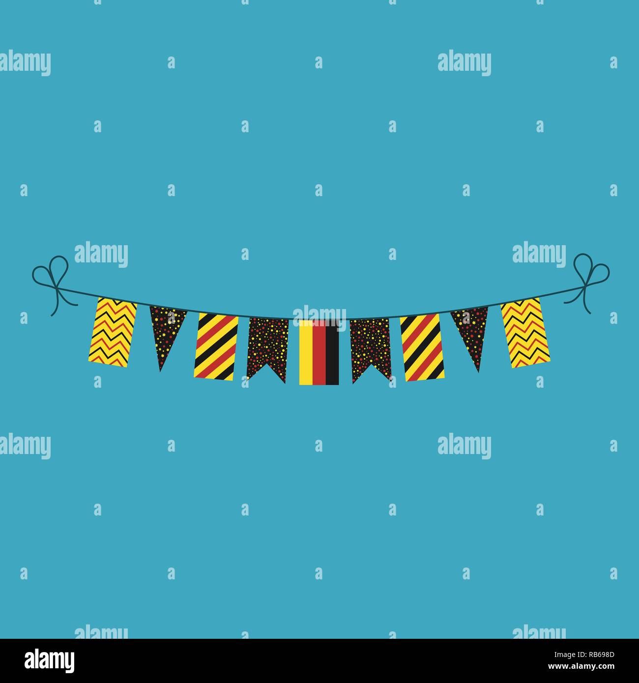 Decorations bunting flags for Germany national day holiday in flat design. Independence day or National day holiday concept. - Stock Vector