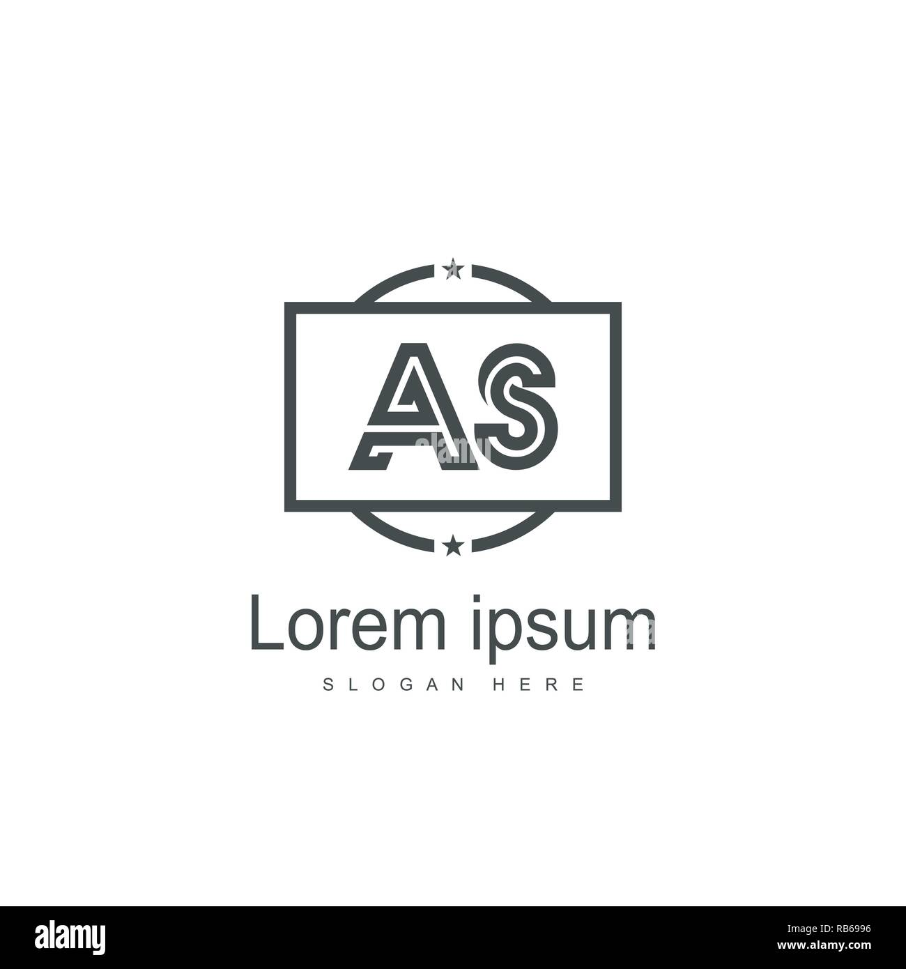 AS Letters Logo Design. Simple and Creative Black Letter Concept Illustration. - Stock Vector