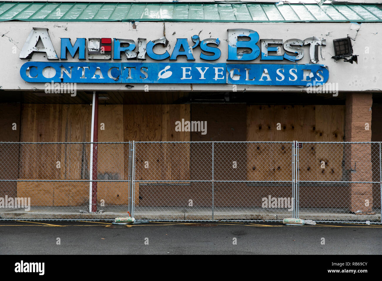 A logo sign outside of a closed America's Best Contacts & Eyeglasses retail store in Wilkes-Barre, Pennsylvania, on December 30, 2018. - Stock Image