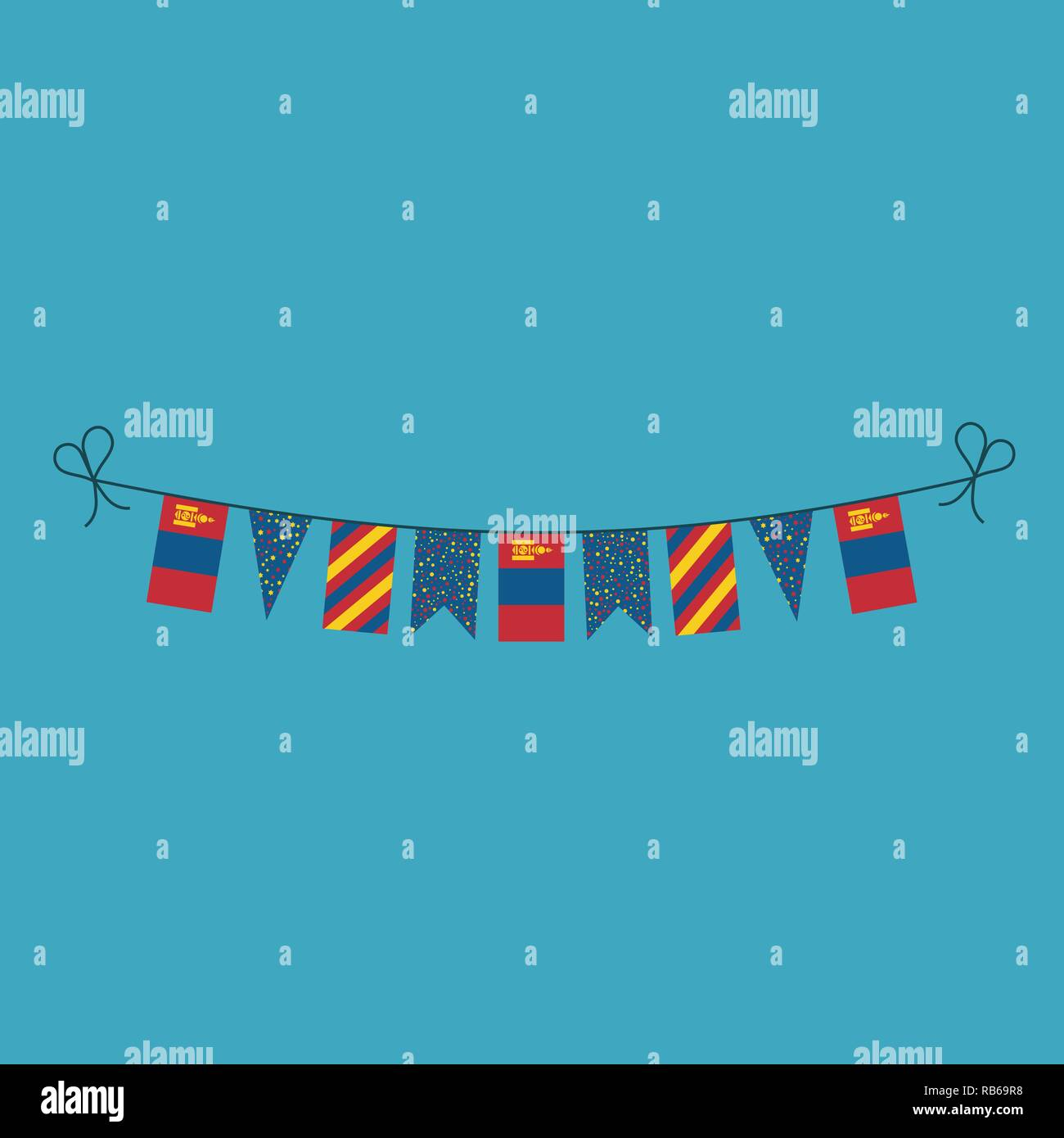 Decorations bunting flags for Mongolia national day holiday in flat design. Independence day or National day holiday concept. - Stock Vector