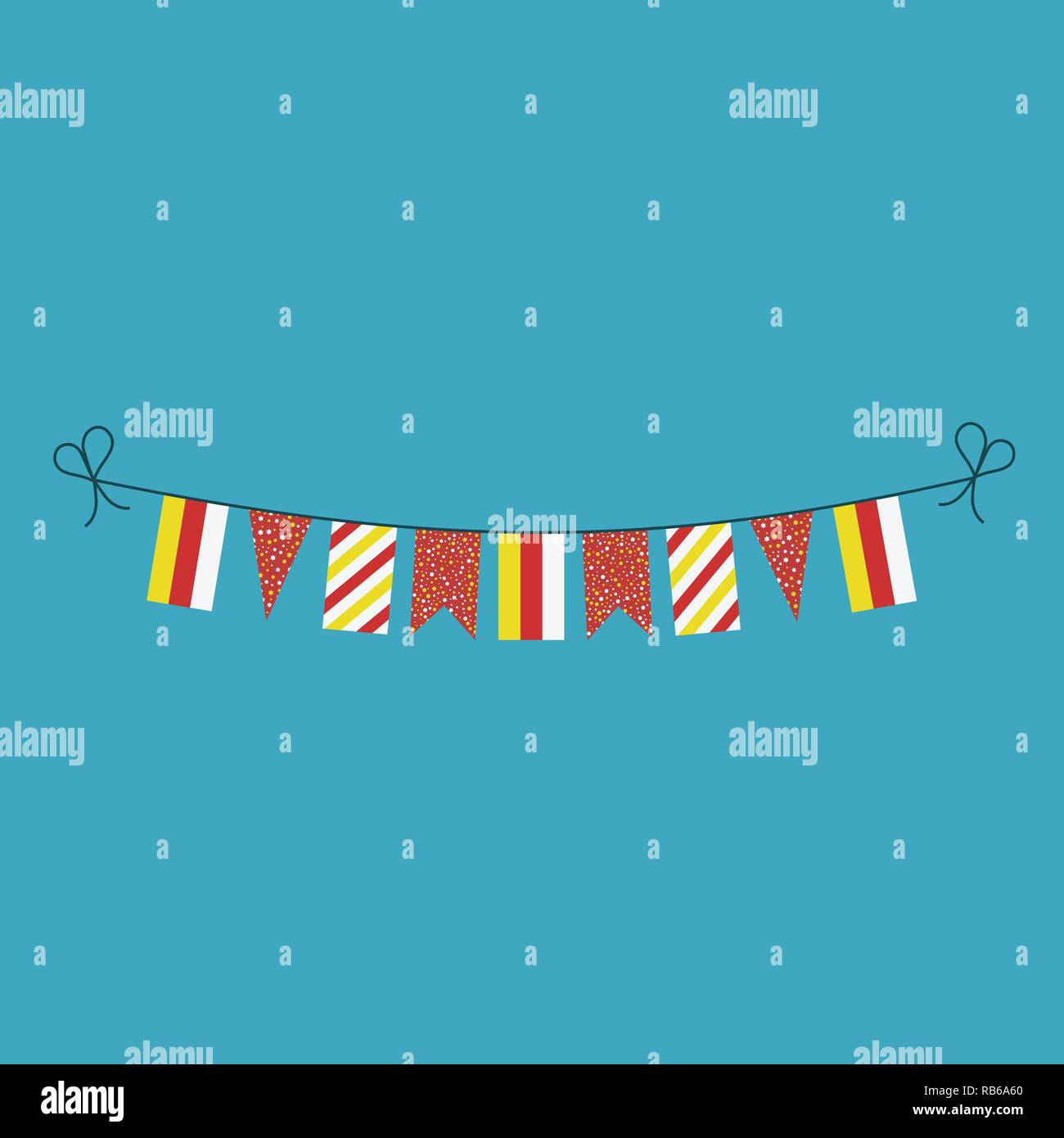 Decorations bunting flags for South Ossetia national day holiday in flat design. Independence day or National day holiday concept. - Stock Image