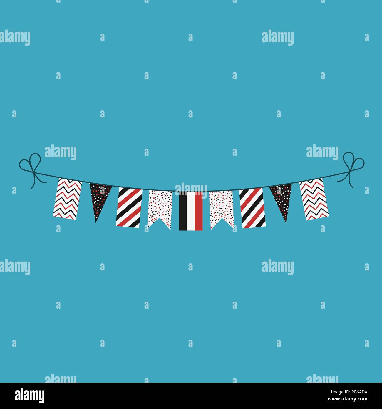Decorations bunting flags for Yemen national day holiday in flat design. Independence day or National day holiday concept. - Stock Vector