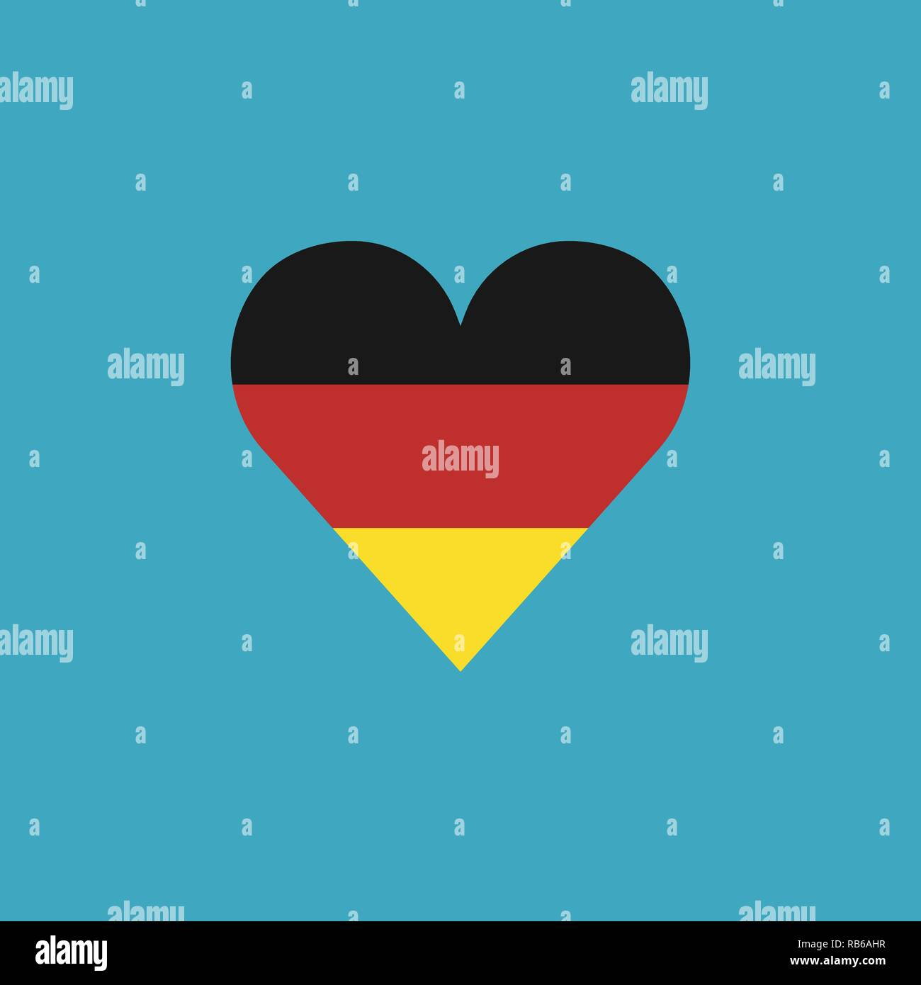 Germany flag icon in a heart shape in flat design. Independence day or National day holiday concept. - Stock Vector