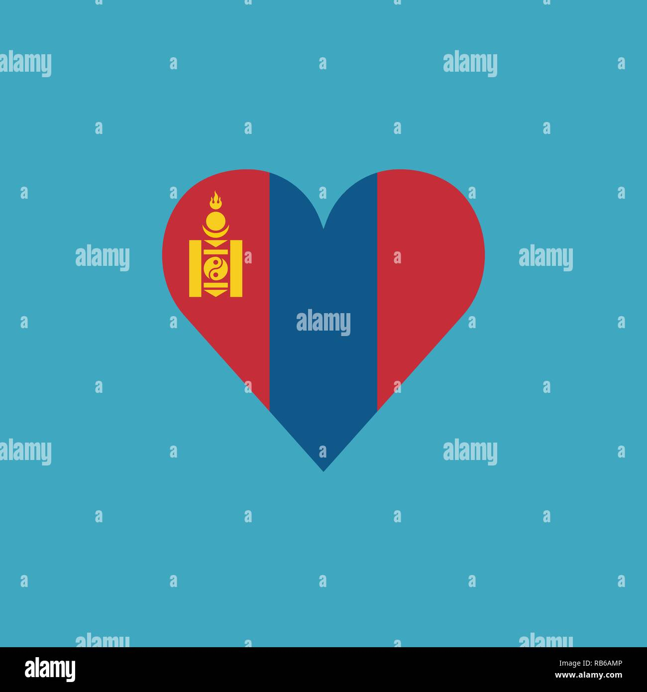 Mongolia flag icon in a heart shape in flat design. Independence day or National day holiday concept. - Stock Vector